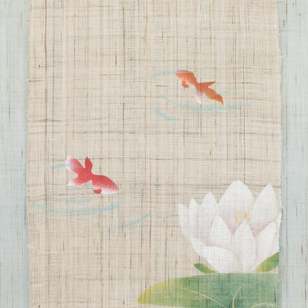 刺繍タペストリー 蓮に金魚