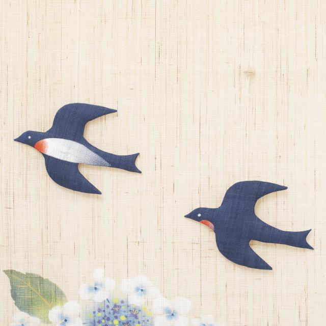オーナメントタペストリー 紫陽花に燕