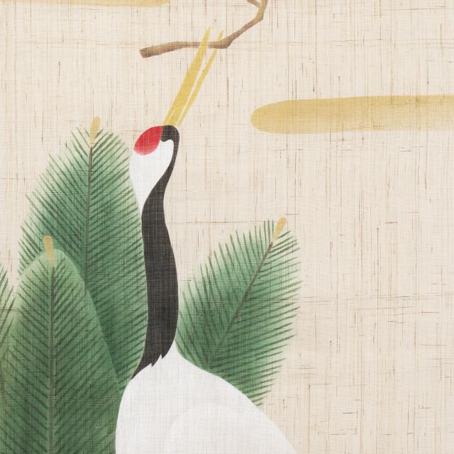 タペストリー 鶴に門松