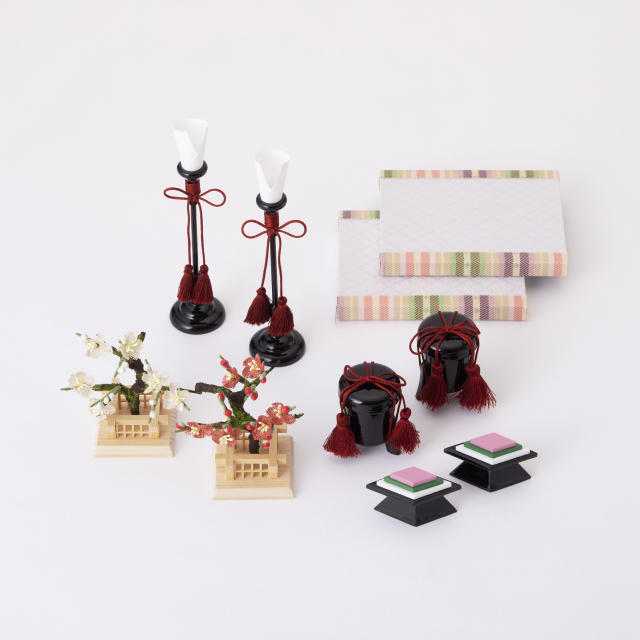 手織り麻の木目込み雛飾り 五人飾り【予約商品:2/1~発送予定】