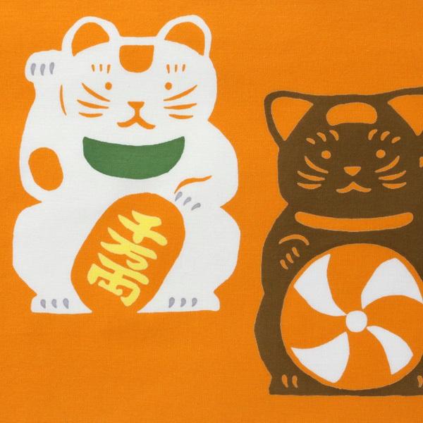 注染手拭い 招き猫と鼠