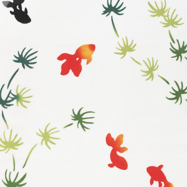 注染てぬぐい 水草金魚