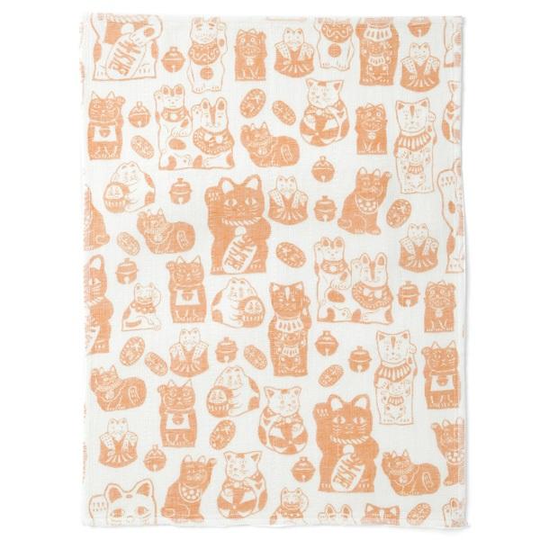 かや織ふきん 招き猫