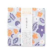かや織ふきん 桔梗と草花
