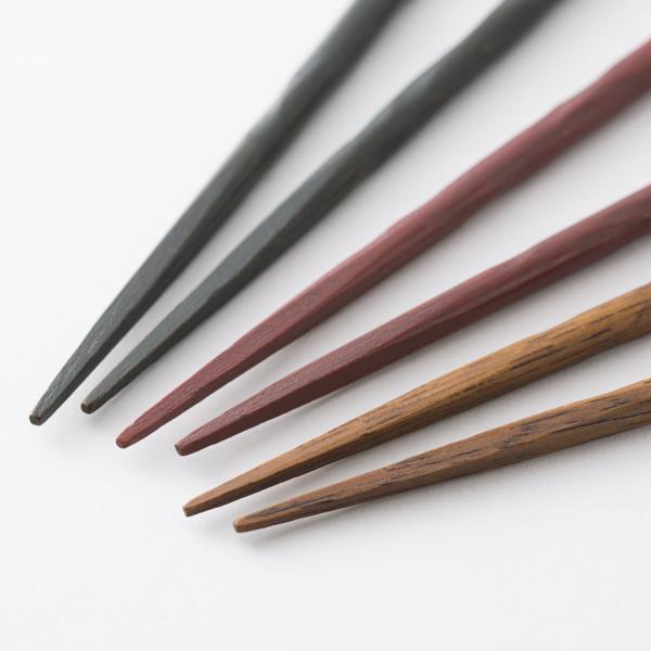 拭き漆のお箸 削り