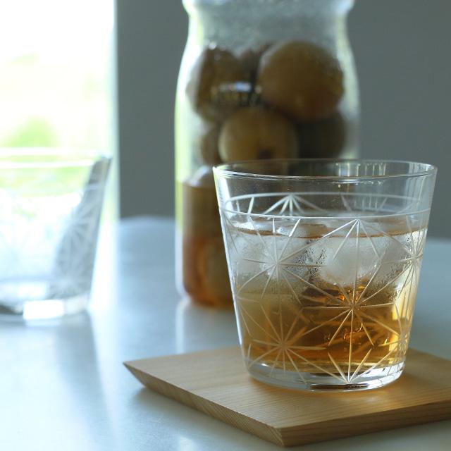 麻の葉切子グラス ショートセット(桐箱入り)