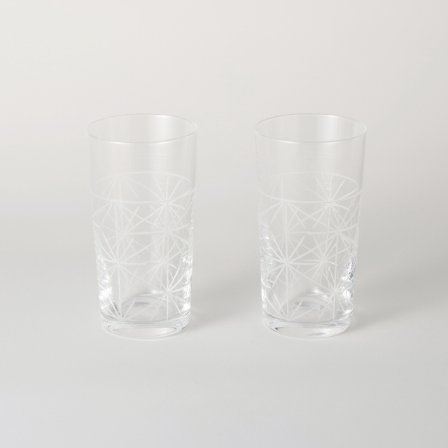 麻の葉切子グラス スリムセット