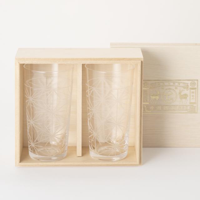 麻の葉切子グラス トールセット(桐箱入り)
