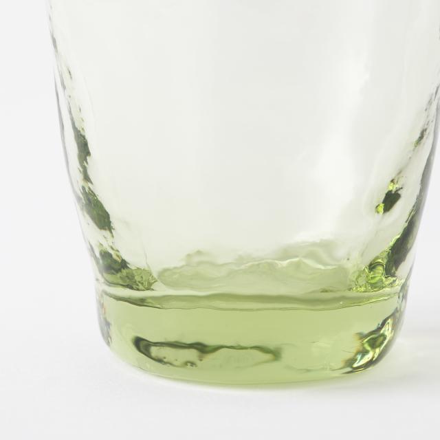 萩ガラス工房 緑の玄武岩ガラス 吹き込みタンブラーー底丸