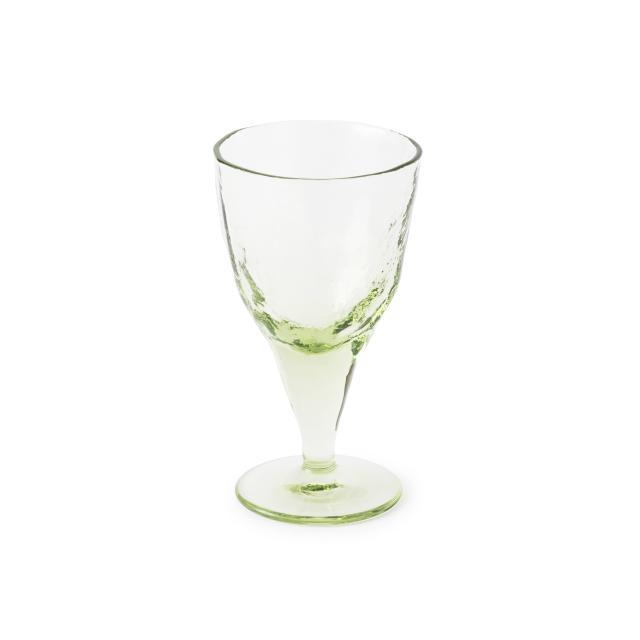 萩ガラス工房 緑の玄武岩ガラス 吹き込みワイングラス 大