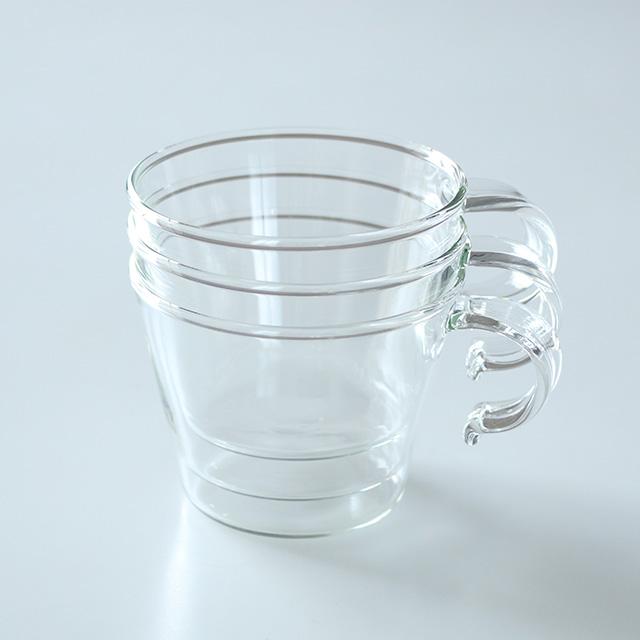 重ねてしまえる耐熱硝子のマグカップ