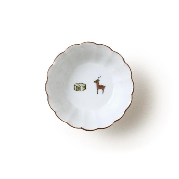 KUTANI SEAL 菊小鉢 鹿と煎餅