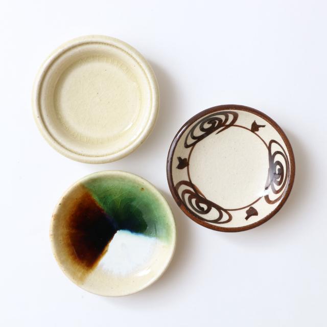 瀬戸焼の豆皿 3寸 三彩