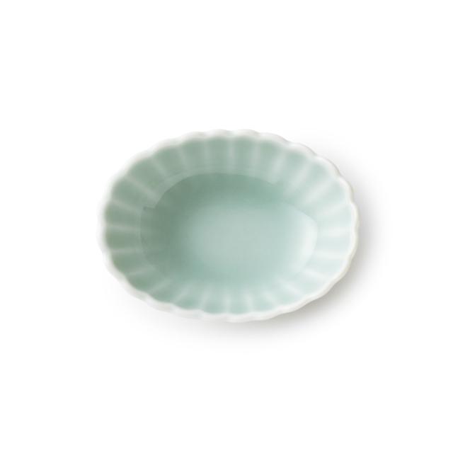 鍋島虎仙窯 鍋島青磁 菊楕円豆鉢