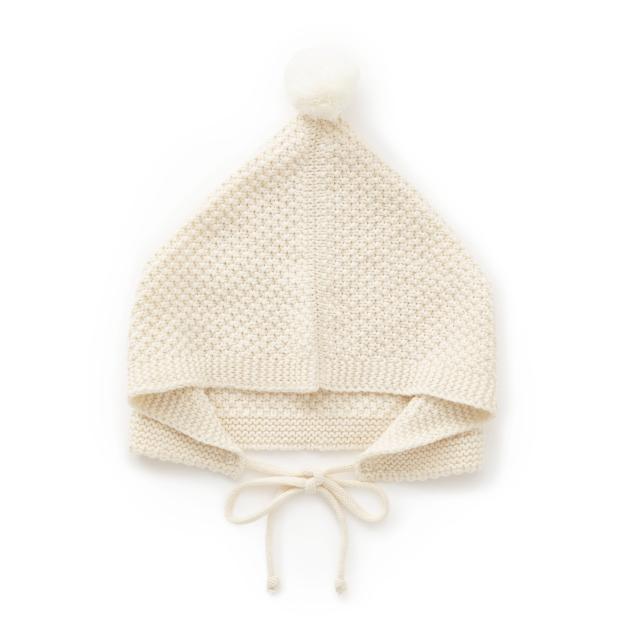 鹿の子編みのベビーボンネット