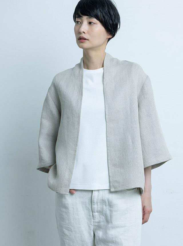 麻ワッフル織の羽織りシャツ