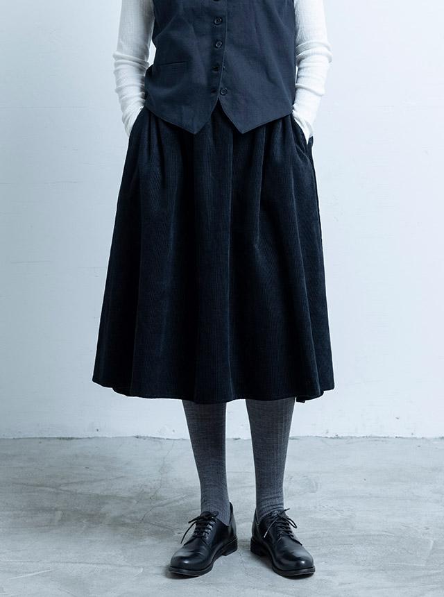 綿麻コーデュロイ フレアスカート