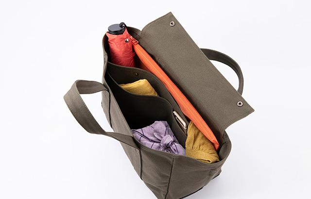 荷物の整理がしやすいバッグの構造