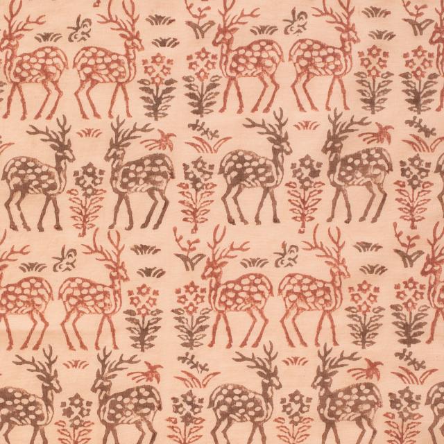布ぬの巾着 ブロックプリント 鹿草木