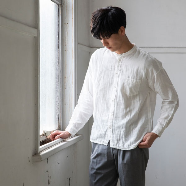 綿麻ガーゼの休日シャツ L