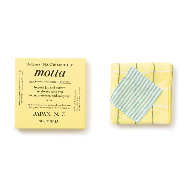 motta7周年記念ハンカチ ポケット ボタンホール付き