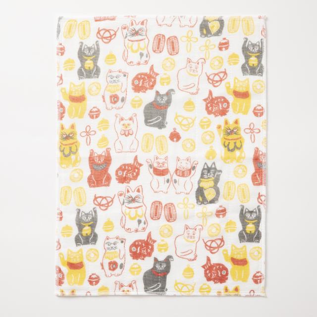かや織ふきん 鈴招き猫