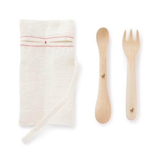 ずっと使えるベビースプーン/フォーク・蚊帳生地お口ふきん 豆絞り・豆紋ふきん