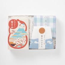 富士山ふきん・格子ふきん 露草・煎屋 手焼き煎餅富士山 6枚入り