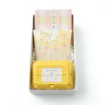 お茶の時間 レモン・花束ふきん 黄色・花ふきん 格子 桃