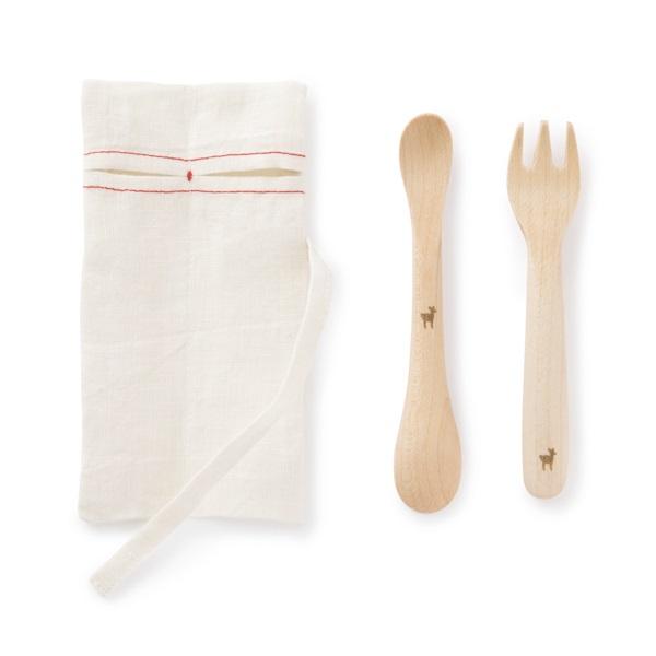 割れにくいこどもプレート・お食事かっぽうぎ 細縞・ずっと使えるベビースプーン・フォーク・ずっと使える子供箸