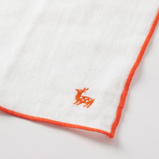 戸田デザイン研究室 リングカード おやこ・鹿のキッズはんかち 朱、黄、青