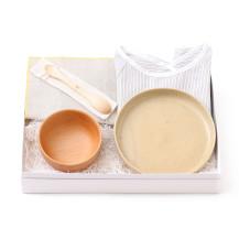 親子のための平皿・親子のための汁椀・ずっと使えるベビースプーン・撥水加工の小さなランチョンマット・お食事かっぽうぎ 細縞