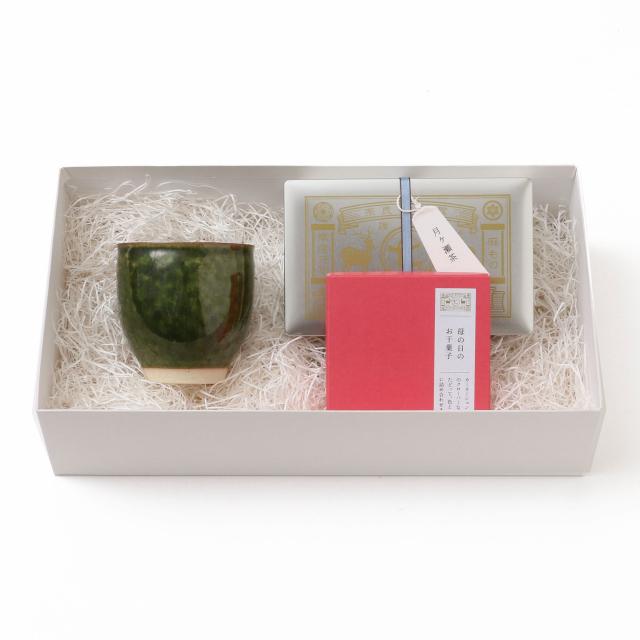 美濃焼の湯呑・月ヶ瀬茶 緑茶・政七商店別注 母の日のお干菓子