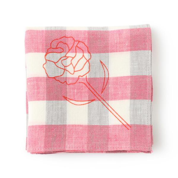 天日干しリネンとラフィアの丸底ミニバッグ翡翠・カーネーションハンカチ motta010ピンク・指が通せるアームカバー