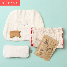 蚊帳キルト フェイスタオル赤・お顔の蒸しタオル・小豆の温熱アイマスク・揉みほぐしかっさ・植物のお風呂