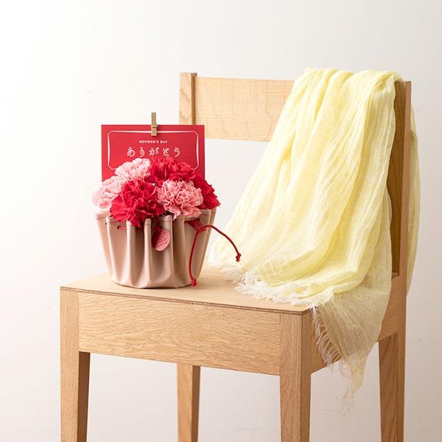 【WEB限定予約商品】【母の日ギフト】青山フラワーマーケット カーネーション×カーネーションで染め上げたかや織ストール 黄
