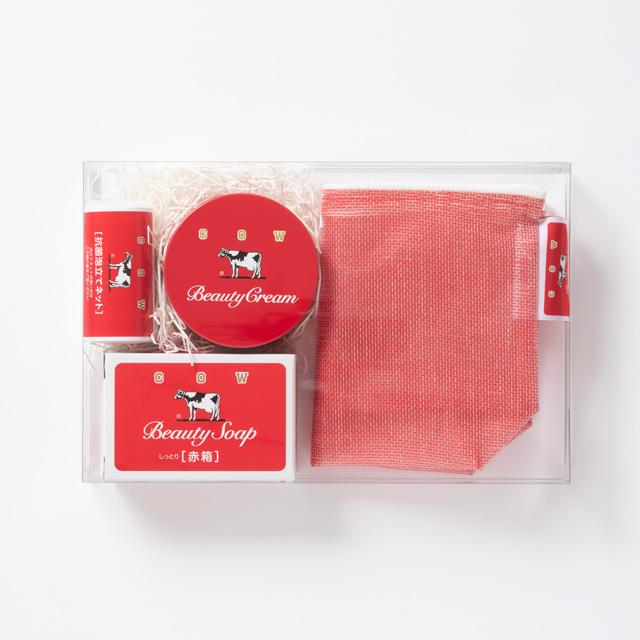 カウブランド赤箱コラボ かや織ビニールマチ付きポーチセット