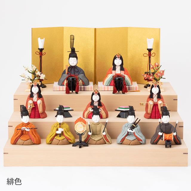 手織り麻の木目込み雛飾り 十人飾り 背景(屏風)・台(素木)付