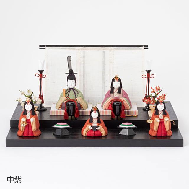 手織り麻の木目込み雛飾り 五人飾り